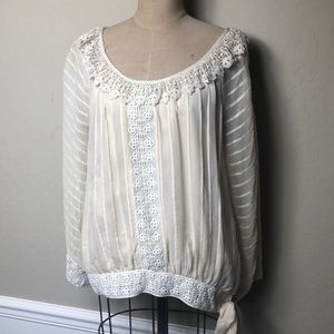 Anthropologie romantic lace embellished top